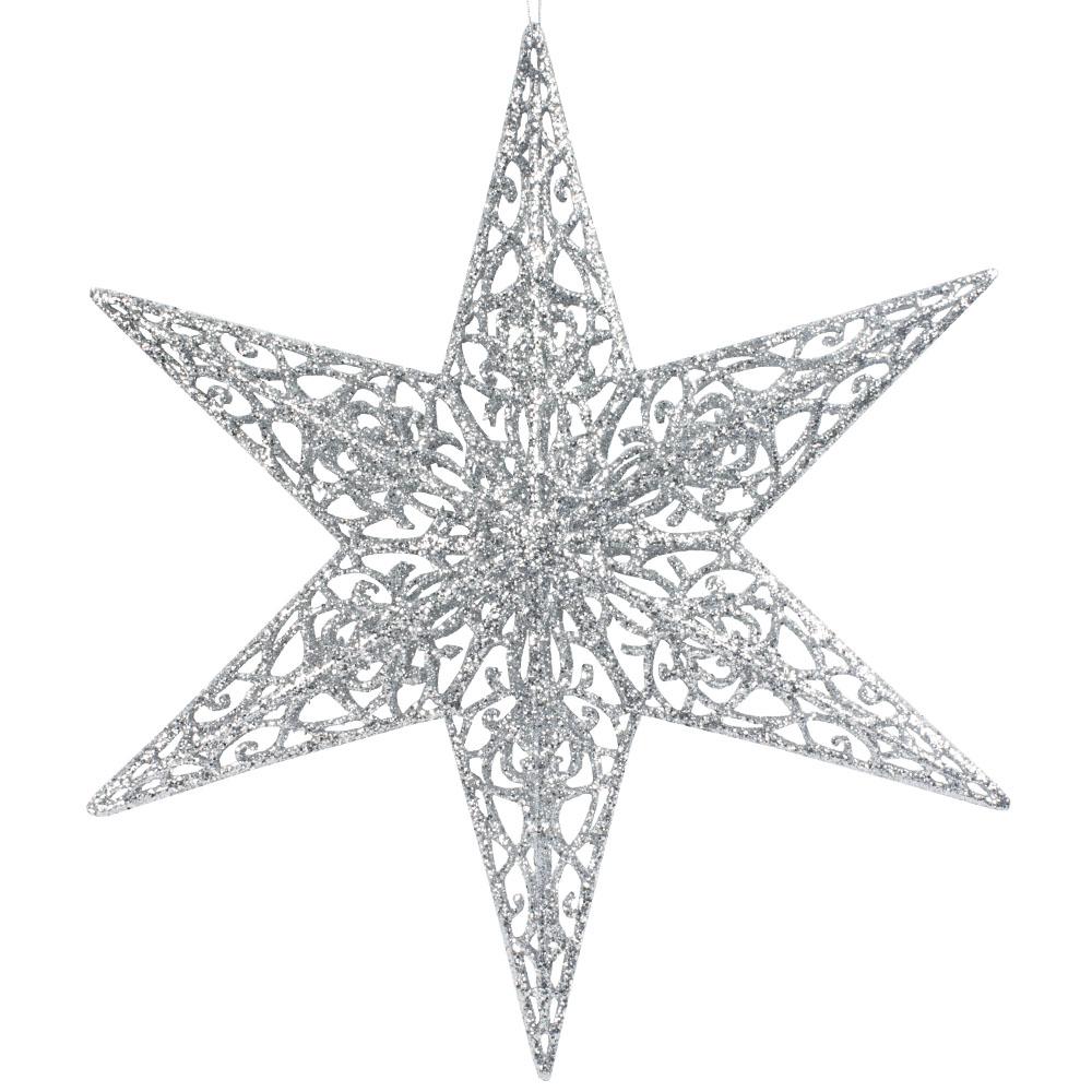 Hanging Silver Glitter 3D Filigree Star Decoration - 35cm