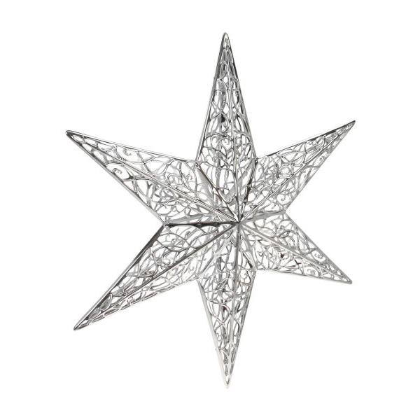 Hanging Silver Shiny 3D Filigree Star Decoration - 35cm
