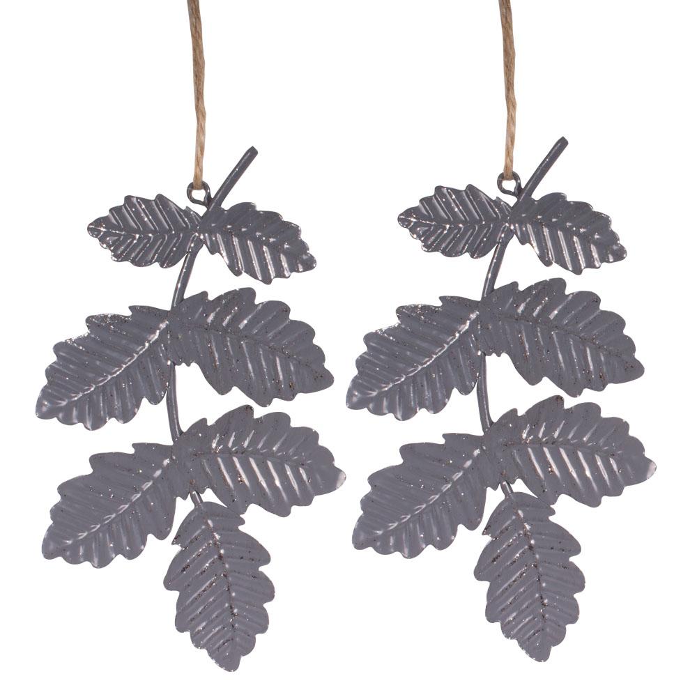 Matt Silver Metal Leaf Hanging Decoration - 8.5cm X 14cm