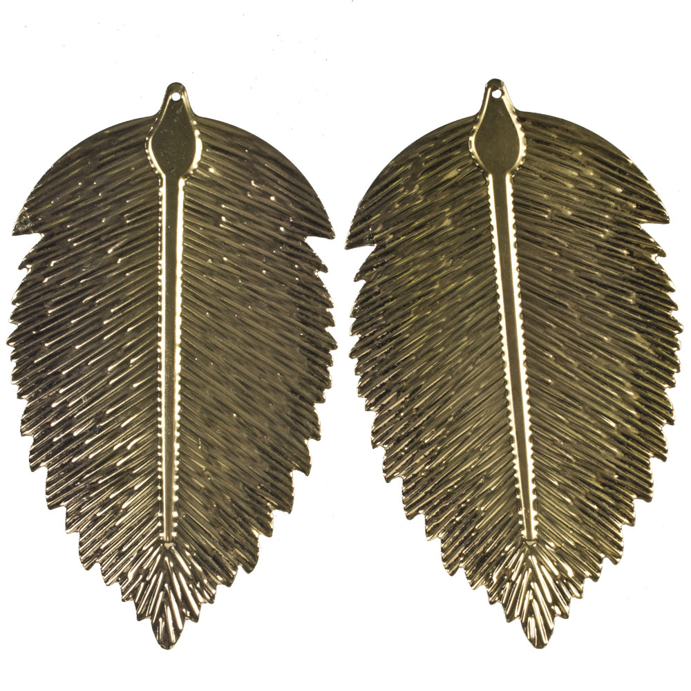 Antique Gold Oval Metal Leaf Hanging Decoration - 8cm X 14cm