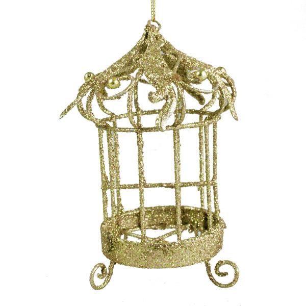 Gold Birdcage Ornament - 8cm X 12cm