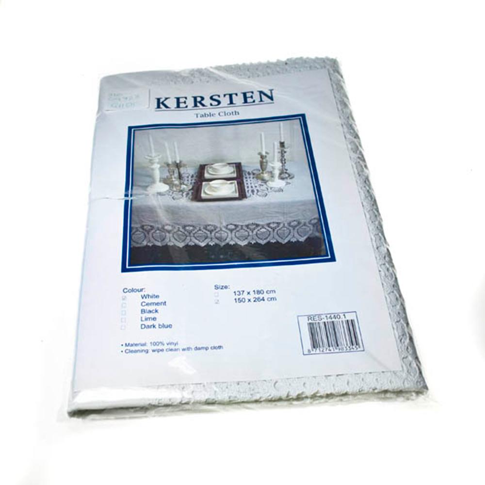 White Vinyl Tablecloth - 150cm X 264cm (59