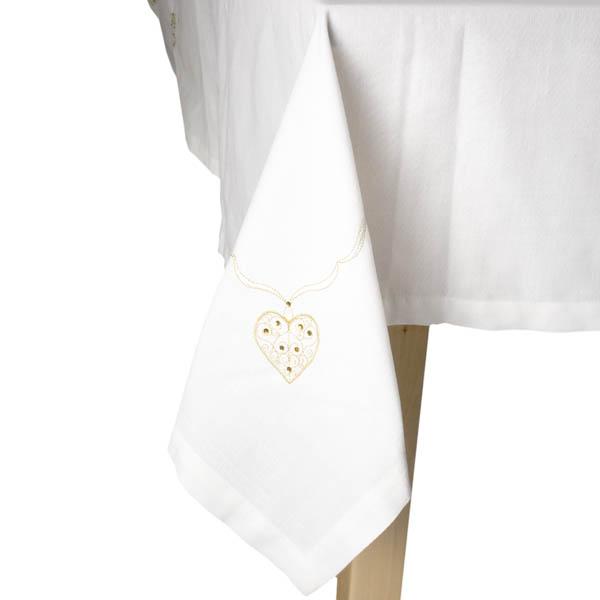 Peggy Wilkins Cream & Gold Filigree Tablecloth - 142cm x 224cm (56