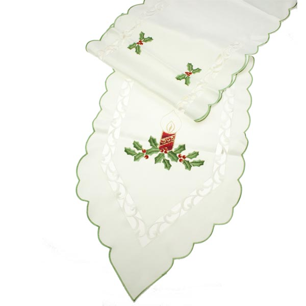 Peggy Wilkins Candlelight Linen Table Runner - 36cm x 190cm  (14