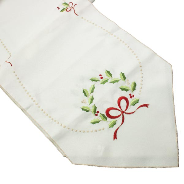 Peggy Wilkins Ivory Holly Berry Table Runner - 35cm X 190cm  (14