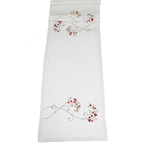 Peggy Wilkins Cream, Red & Gold Sparkle Berry 35cm x 190cm Table Runner (14 x 75 Inches)