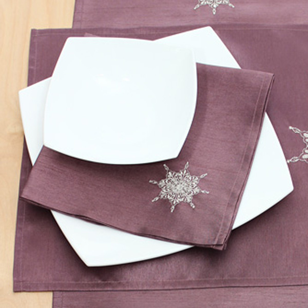 Peggy Wilkins Purple & Silver Orinoco Design Embroidered Pack of 4 Napkins