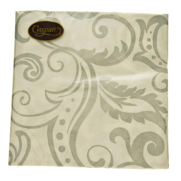 Paper Lunch Napkins in Silver Filigree Design