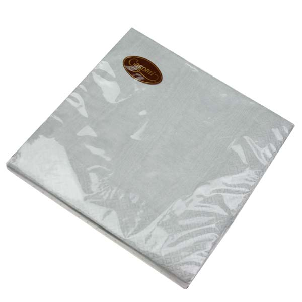 Pack Of 20 Dinner Paper Napkins - Silver Moire Design