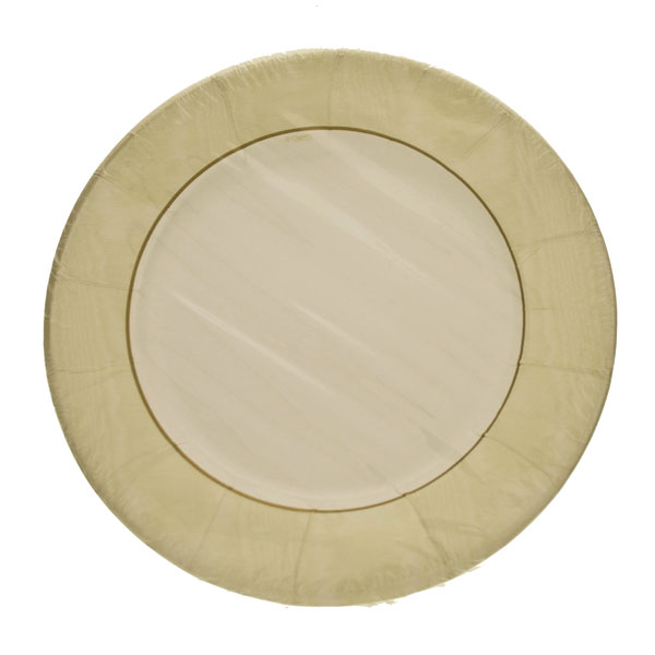 Pack of 8 Disposable Moire Ivory Plates - 20.3cm