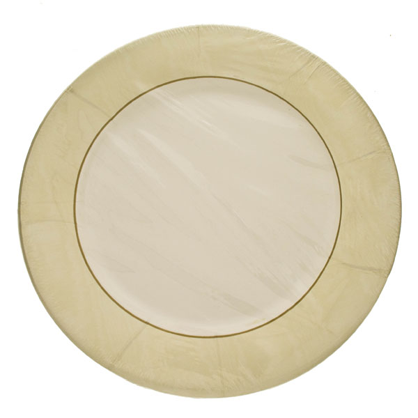 Pack of 8 Disposable Moire Ivory Plates - 26.7cm