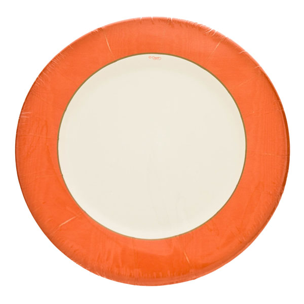 Pack of 8 Disposable Moire Orange Plates - 20.3cm