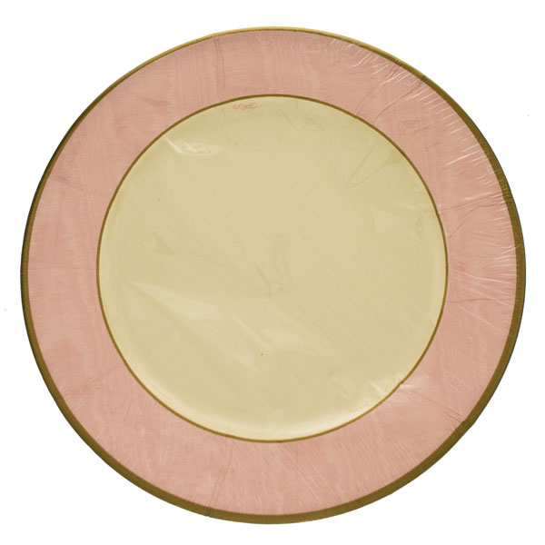 Pack of 8 Disposable Moire Pink Plates - 26.7cm
