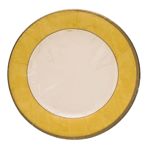 Pack of 8 Disposable Moire Yellow Plates - 20.3cm