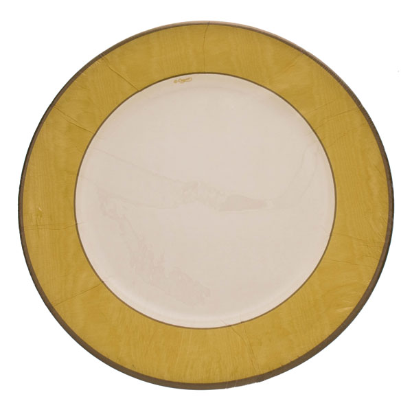 Pack of 8 Disposable Moire Yellow Plates - 26.7cm