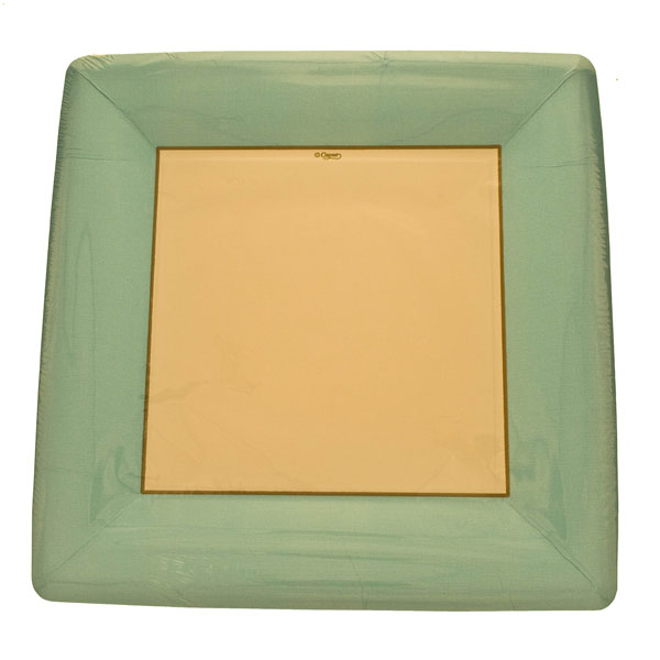 Blue Disposable Square Dinner Plates - Pack of 8