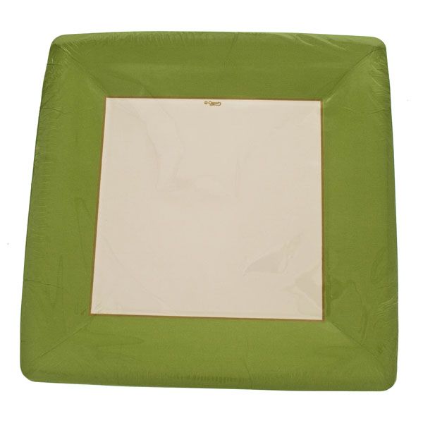 Lime Disposable Square Dinner Plates - Pack of 8