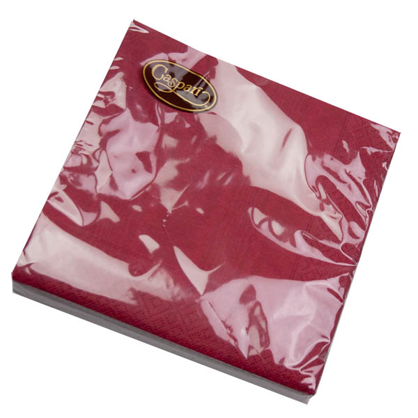 Pack Of 20 Plain Burgundy Red Moire Disposable Lunch Napkins
