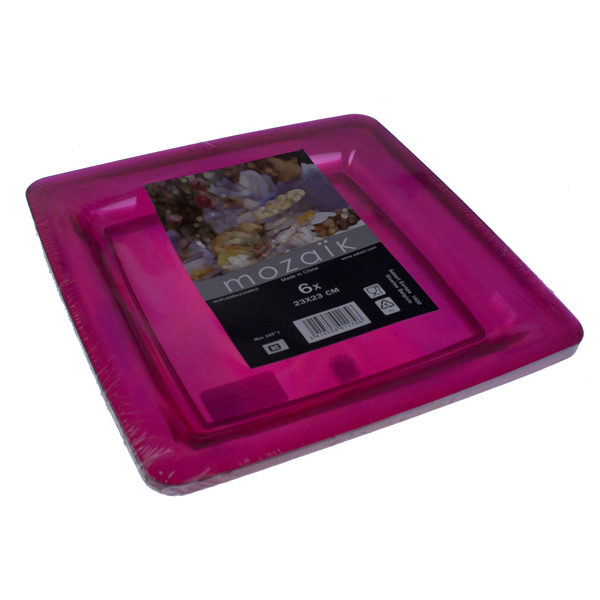 Pack Of 6 Raspberry Pink Mozaik Plastic Square Plates - 22.5cm x 22.5cm