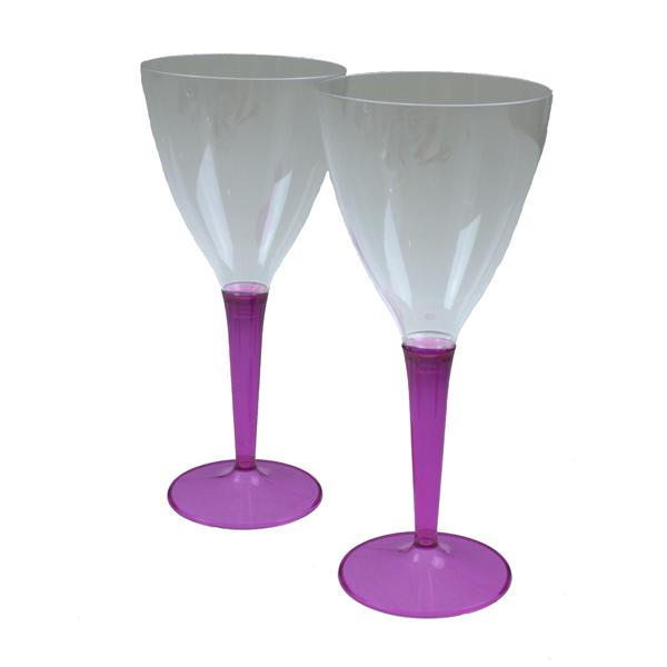 Mozaik Raspberry Coloured Stem Wine Glasses - Pack of 6