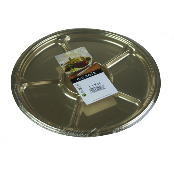 Mozaik Gold Round Platter with 6 Compartments - 30.5cm