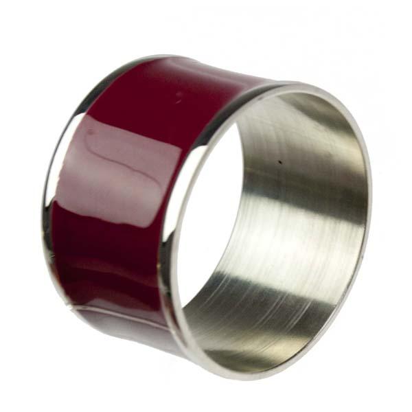 Brass & Burgundy Enamel Napkin Ring