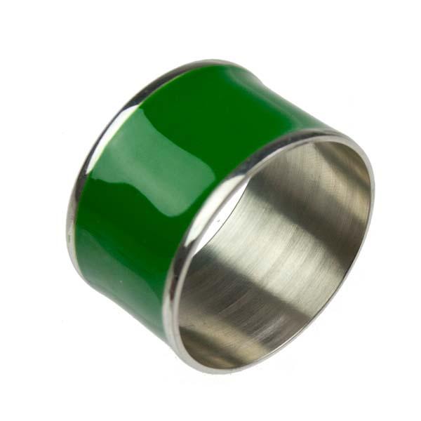 Brass & Emerald Green Enamel Napkin Ring