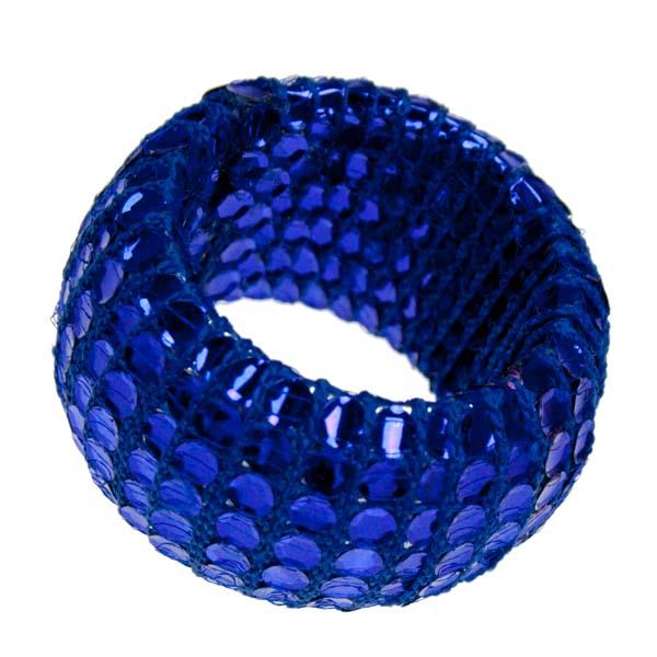 Blue Textile & Sequin Napkin Ring
