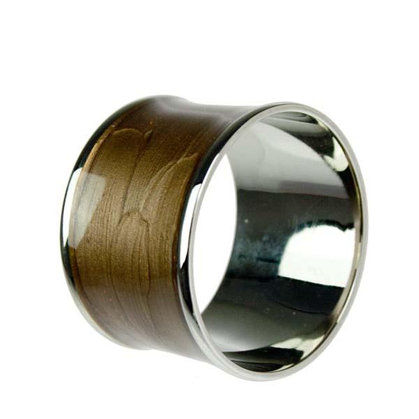 Brass & Enamel Brown Napkin Ring