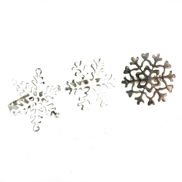 Silver Snowflake Napkin Rings - Pack Of 3