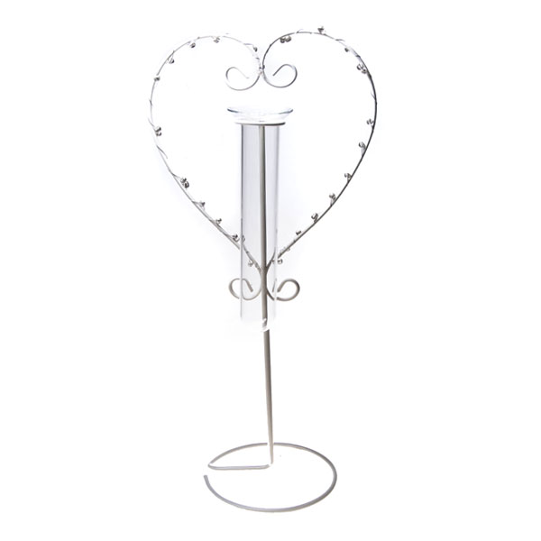 White Heart Design Flower Holder - 30cm