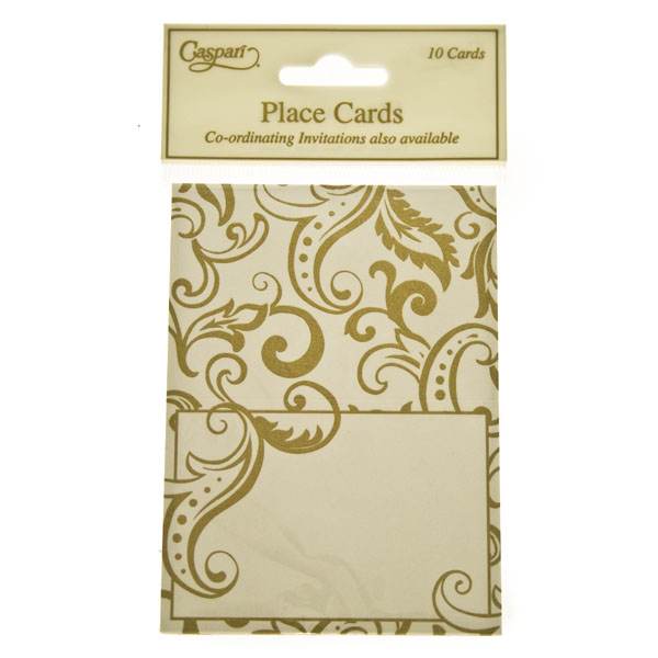 Gold Filigree Design Place Cards - 10 Pack
