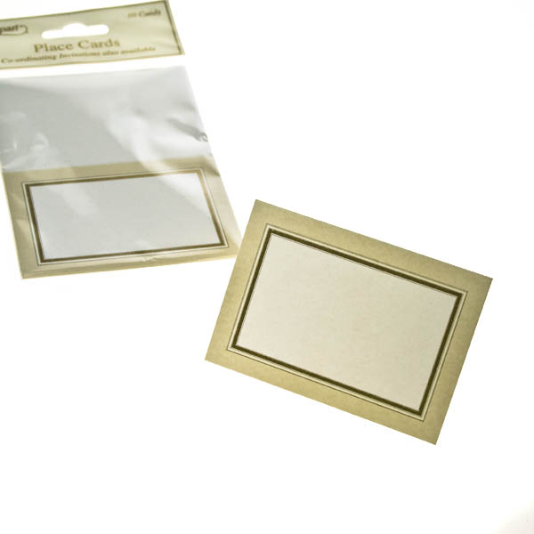Cream With Gold Frame Place Cards - 10 Pack