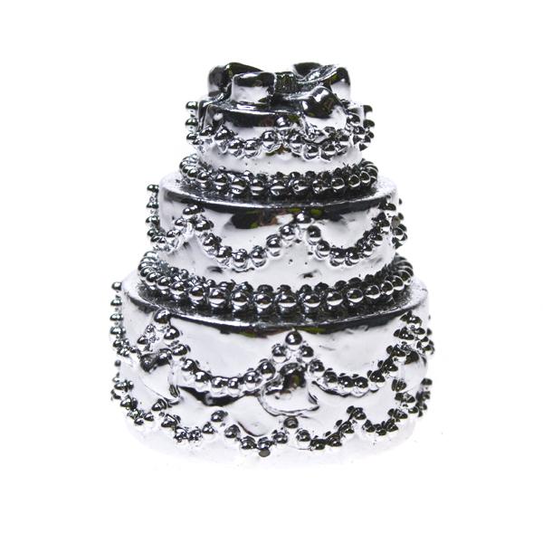 Pewter Wedding Cake Placecard Holder