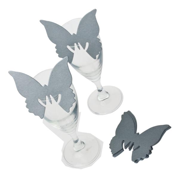 Silver Butterfly Place Cards - 10 Pack