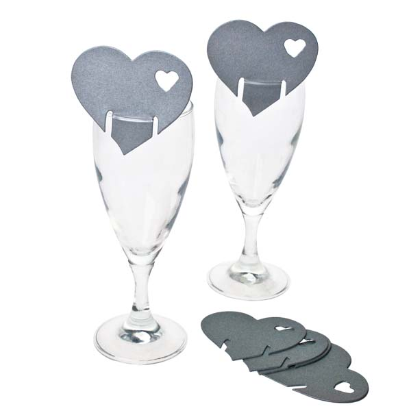 Silver Heart Place Cards - 10 Pack
