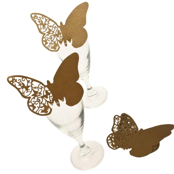 Gold Laser Cut Butterfly Place Cards - 10 Pack