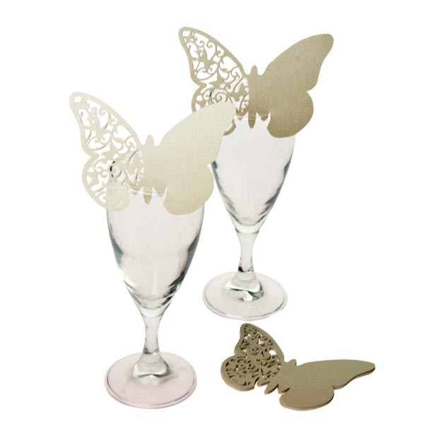 Ivory Laser Cut Butterfly Place Cards - 10 Pack