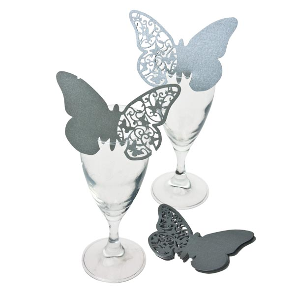 Silver Laser Cut Butterfly Place Cards - 10 Pack