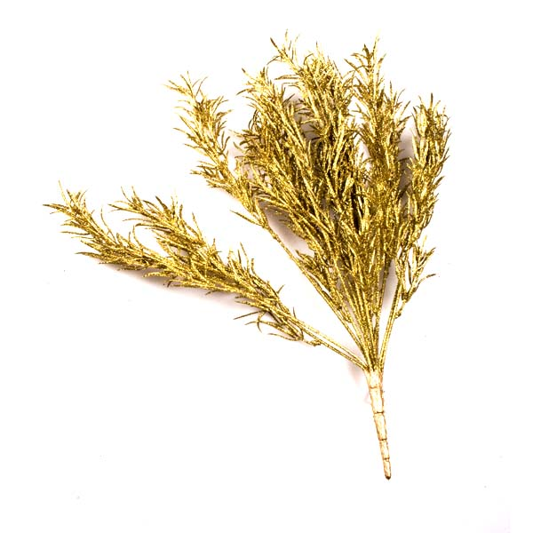 Gold Decorative Grass Spray With Glitter - 47cms