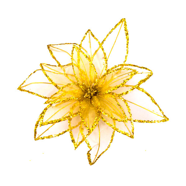 Gold Fabric & Glitter Decorative Flower On A Clip - 20cm