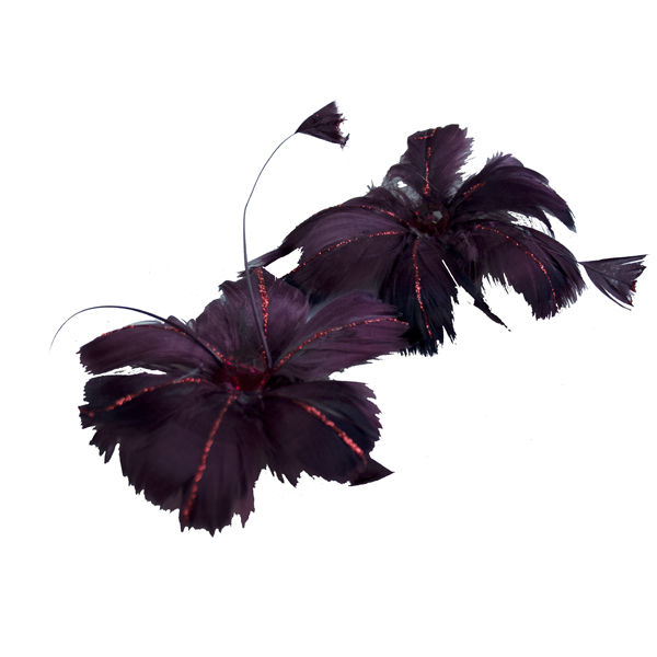 Dark Red Feather Flowers On Clips - Pack Of 2 x 13cm