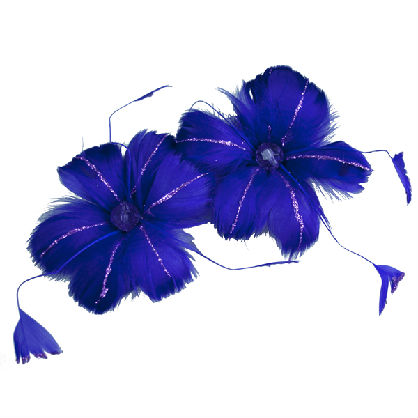 Purple Feather Flowers On Clips - Pack Of 2 x 13cm