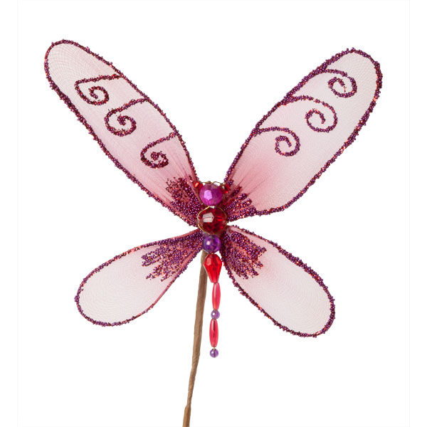 Cerise Pink Net Dragonfly Pick - 15cm Wide