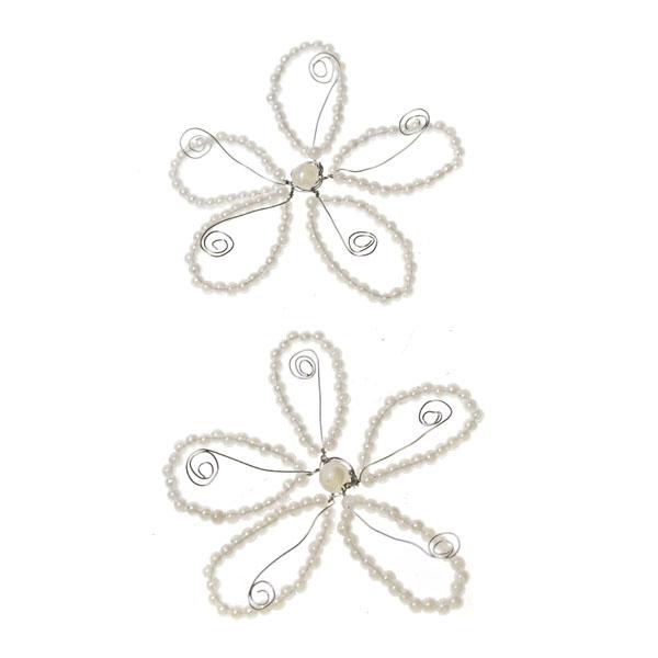 Ivory Beaded Pearl Flowers - 2 Pack