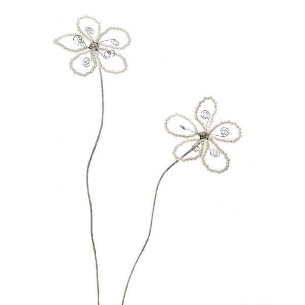 Ivory Beaded Pearl Flower Pick - 2 Pack