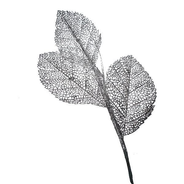 Glittery Oyster Leaf Spray - 82cm
