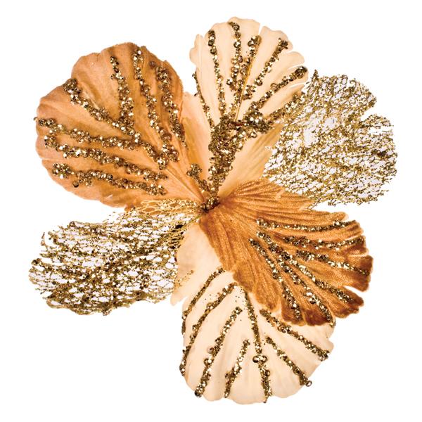 Gold Clip On Sequin Flower - 16cm