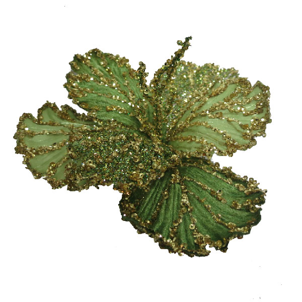 Green & Gold Clip On Sequin Flower - 16cm