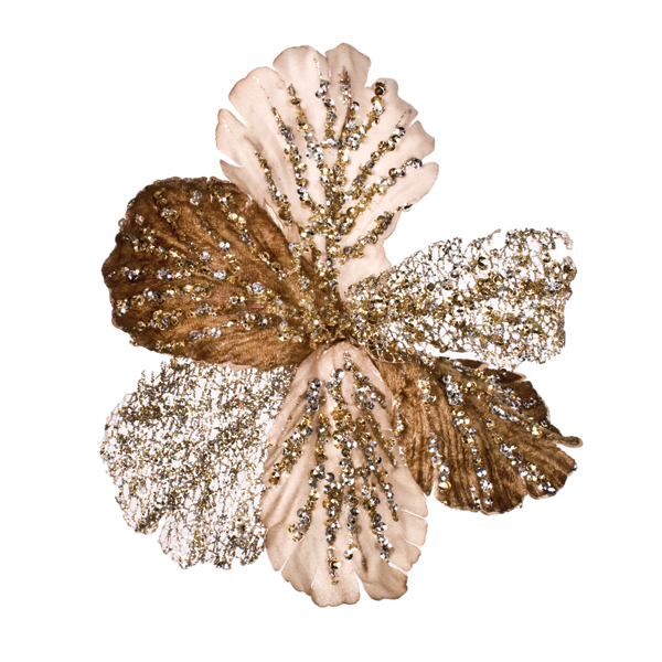 Taupe And Platinum Clip On Sequin Flower - 16cm